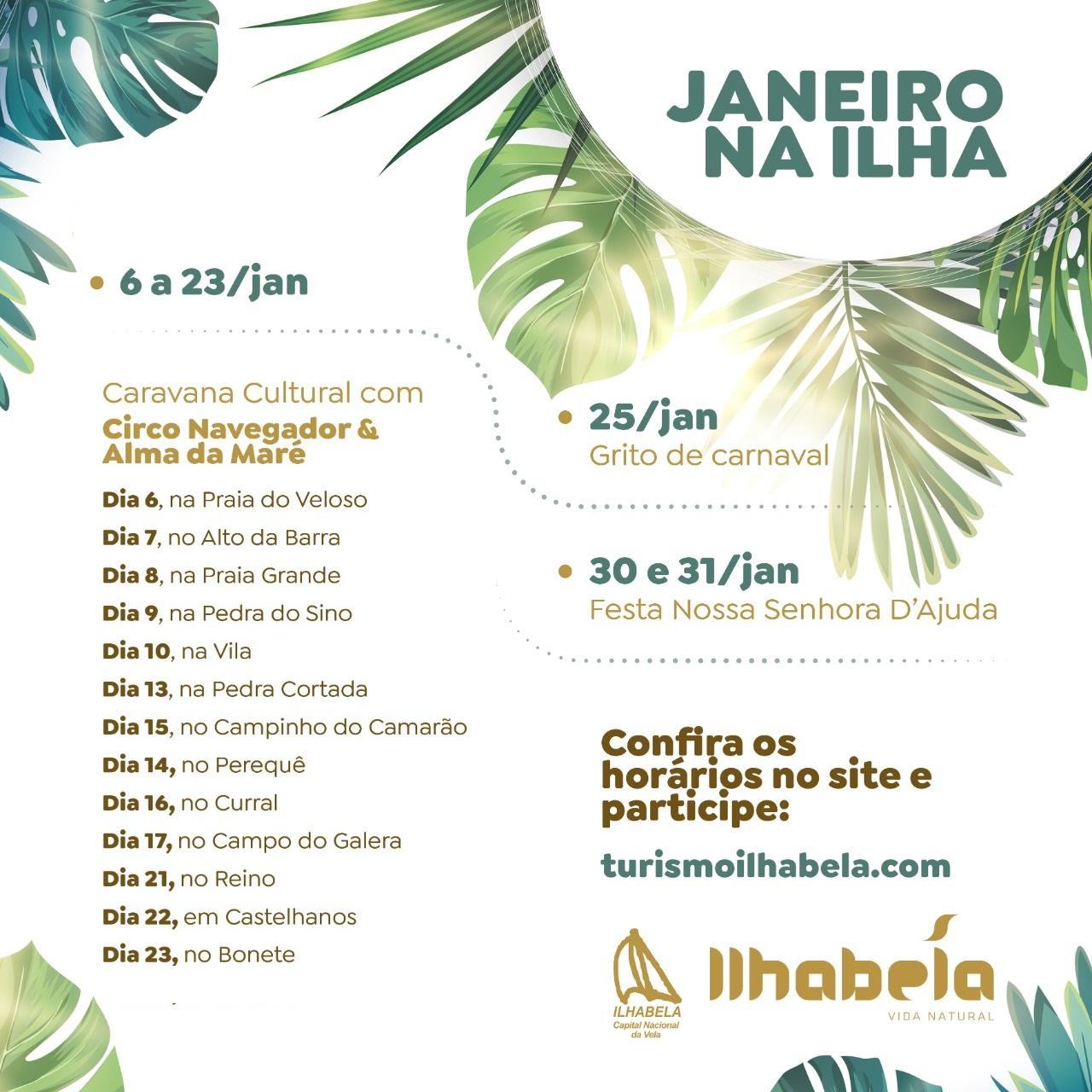 Prefeitura de Ilhabela divulga programação Cultural do mês de janeiro